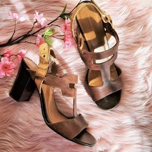 Banana Republic Two Tone Heeled Leather Sandals